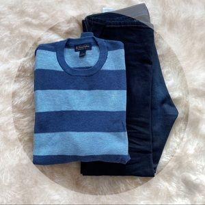 BROOKS BROTHERS BLUE STRIPED SWEATER. SIZE LARGE